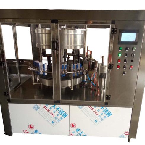 automatic double label applicator machine oil paint bucket